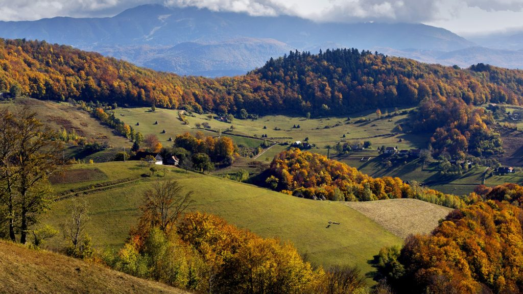 Autumn landscape hills in Romania County, traditional village