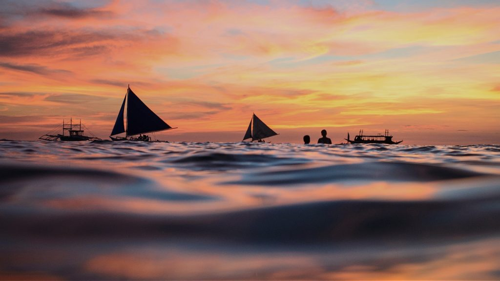 Ocean surface during sunset, Boracay, Malay, Aklan, Western Visayas, Phillipines
