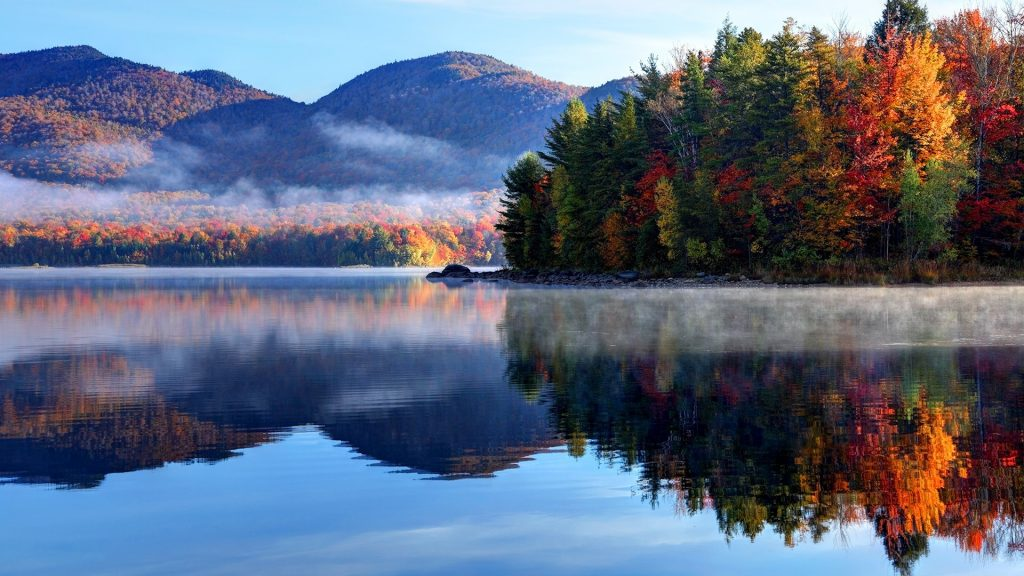 Morning autumn in the Green Mountain National Forest in Vermont, New England, USA