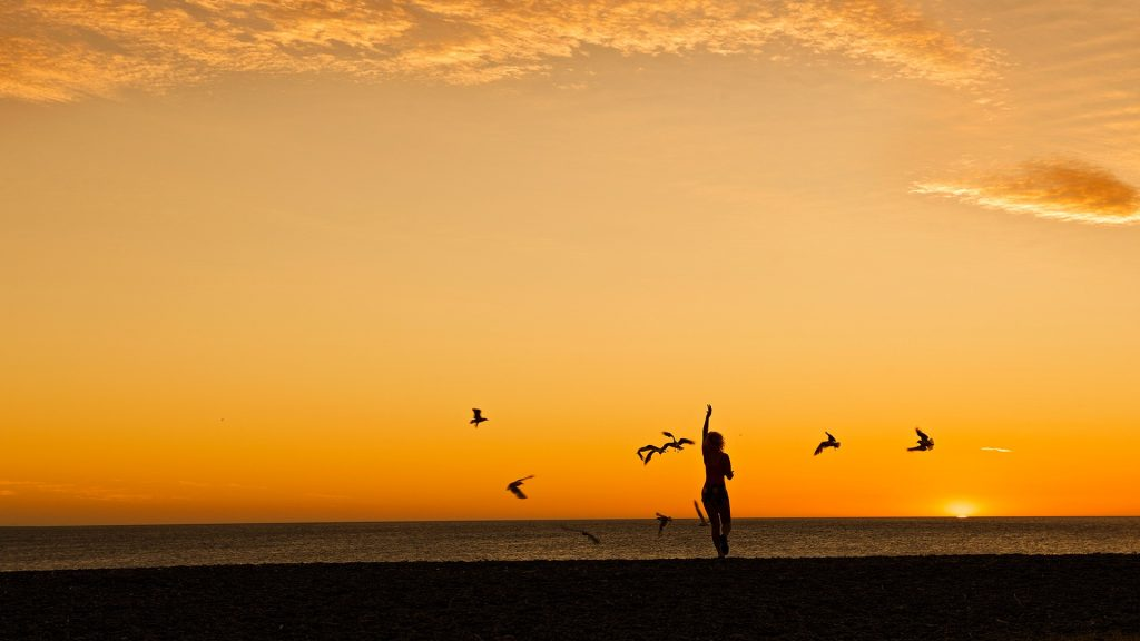 Woman running on coastline, golden sunset hours in New Zealand