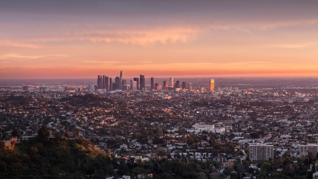 Last rays of afternoon light illuminating downtown Los Angeles, California, USA