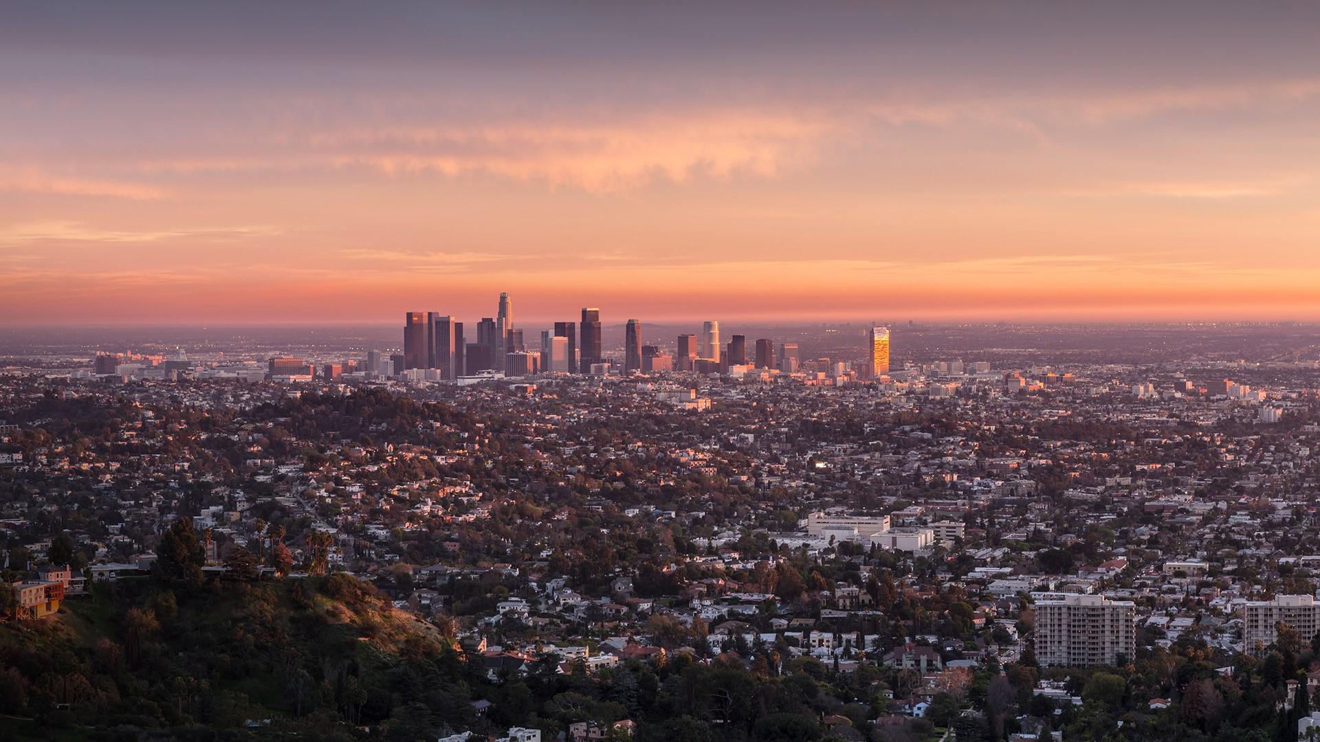 Last rays of afternoon light illuminating downtown Los ...