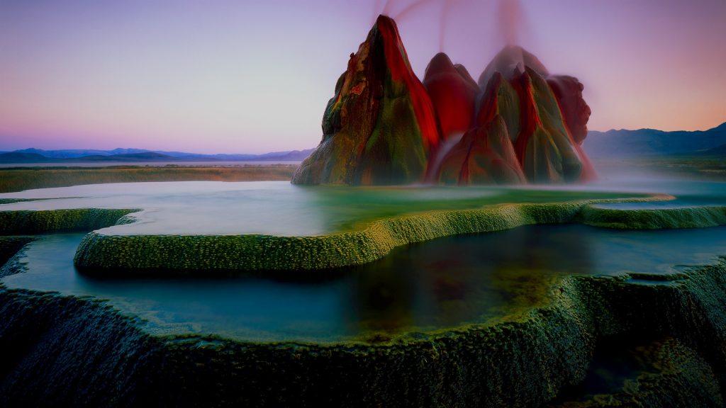 Fly Geyser after sunset, Black Rock Desert, Washoe County, Nevada, USA