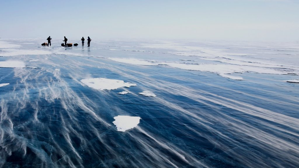 Snowdrift on lake Baikal surface, Russia
