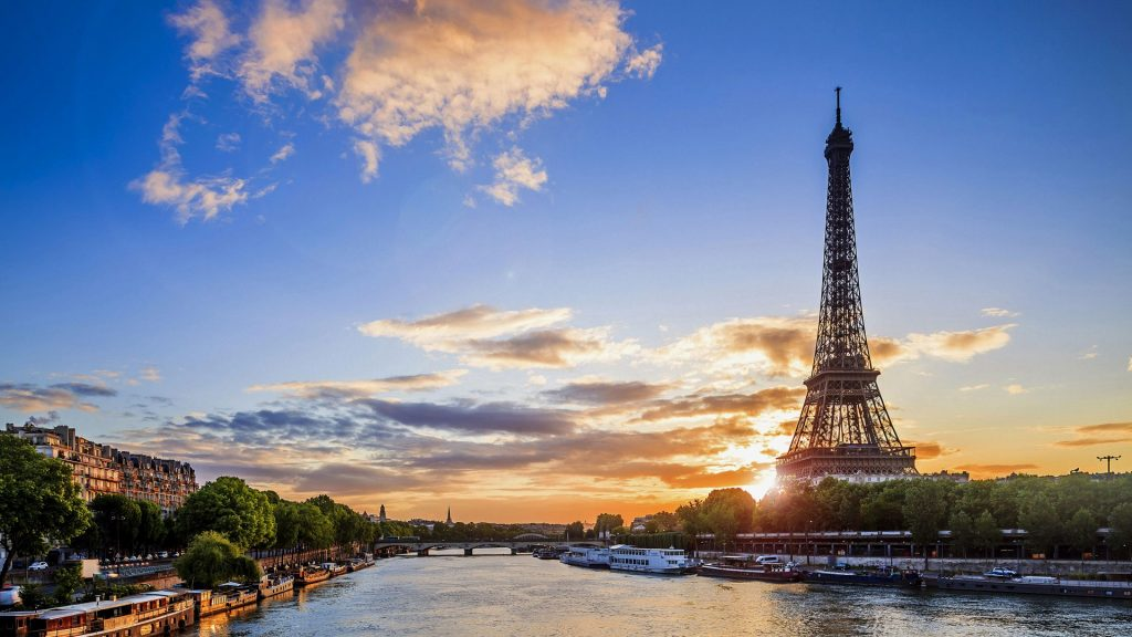 Eiffel Tower view from Seine river, Paris, France