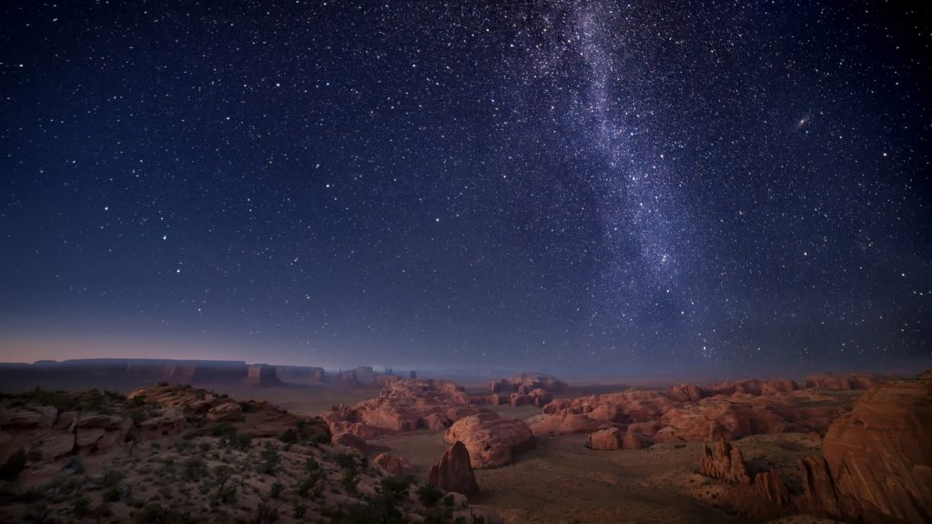 Milky Way over Arizona Desert Mesas, Monument Valley, Kayenta, Arizona, USA