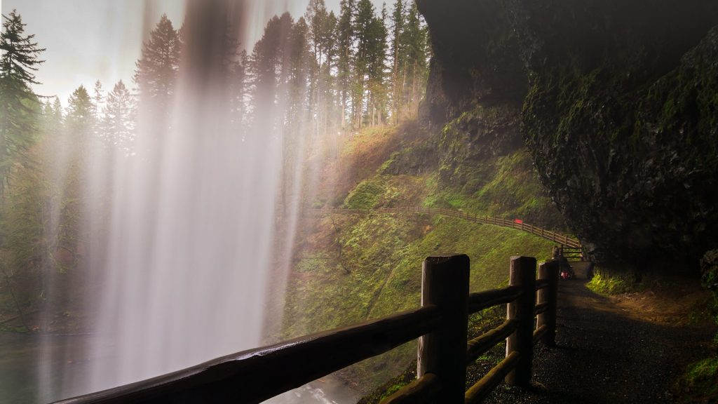 Behind South Falls, waterfall in Silver Falls State Park, Oregon, USA