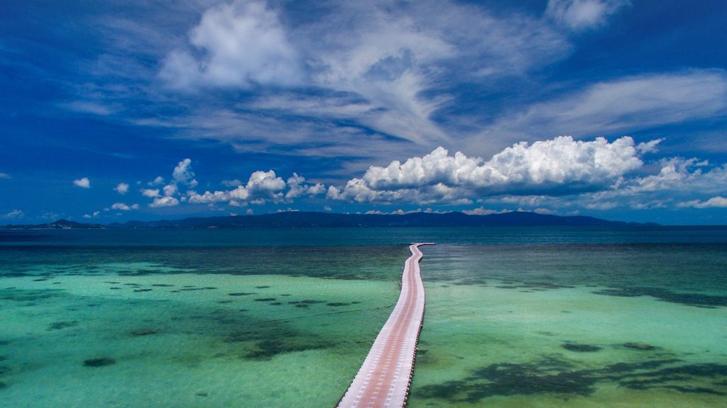 Pontoon bridge stretching into the distance, Koh Phangan, Thailand