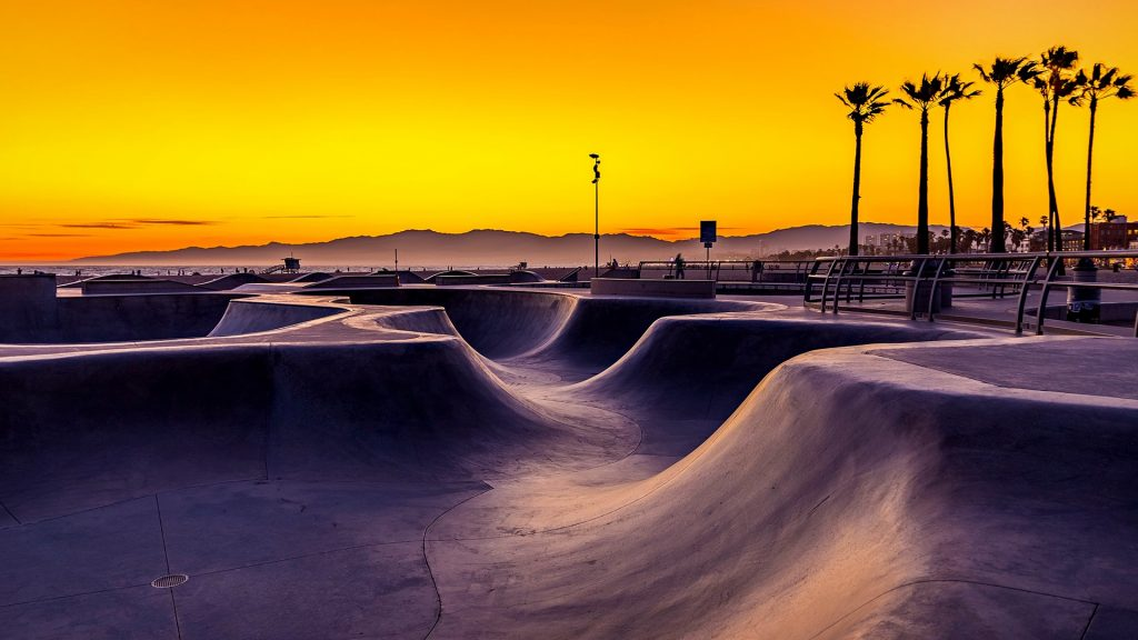 Sunset over Venice Beach skatepark, California, USA