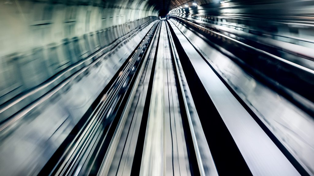 Real underground train tunnel, high speed blurred motion