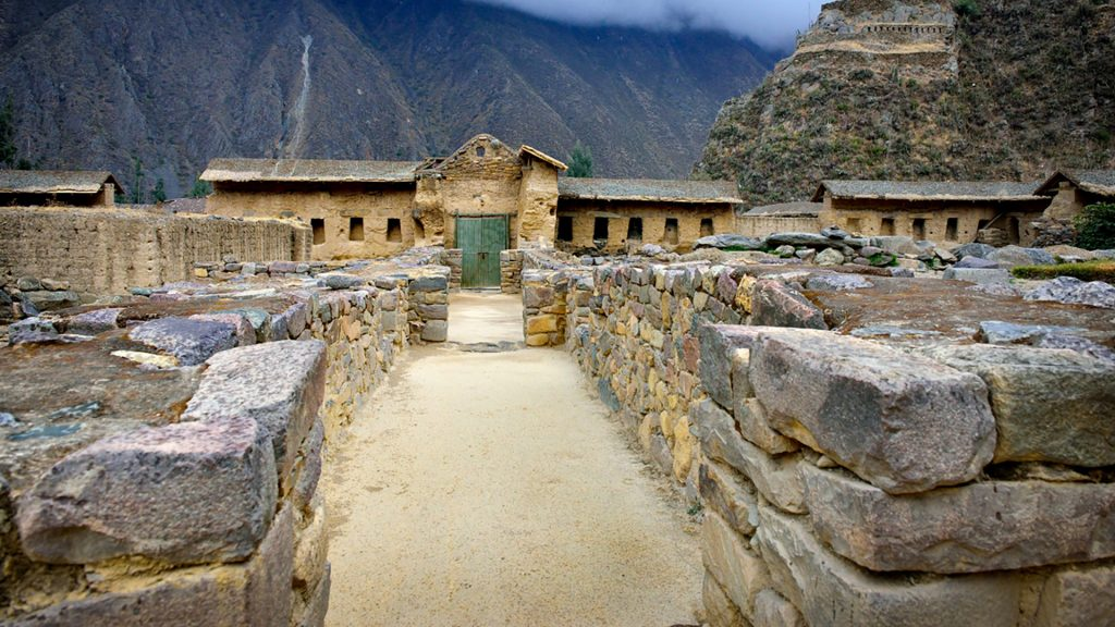 Inside Inca fortress of Ollantaytambo, Sacred Valley, Cusco, Peru