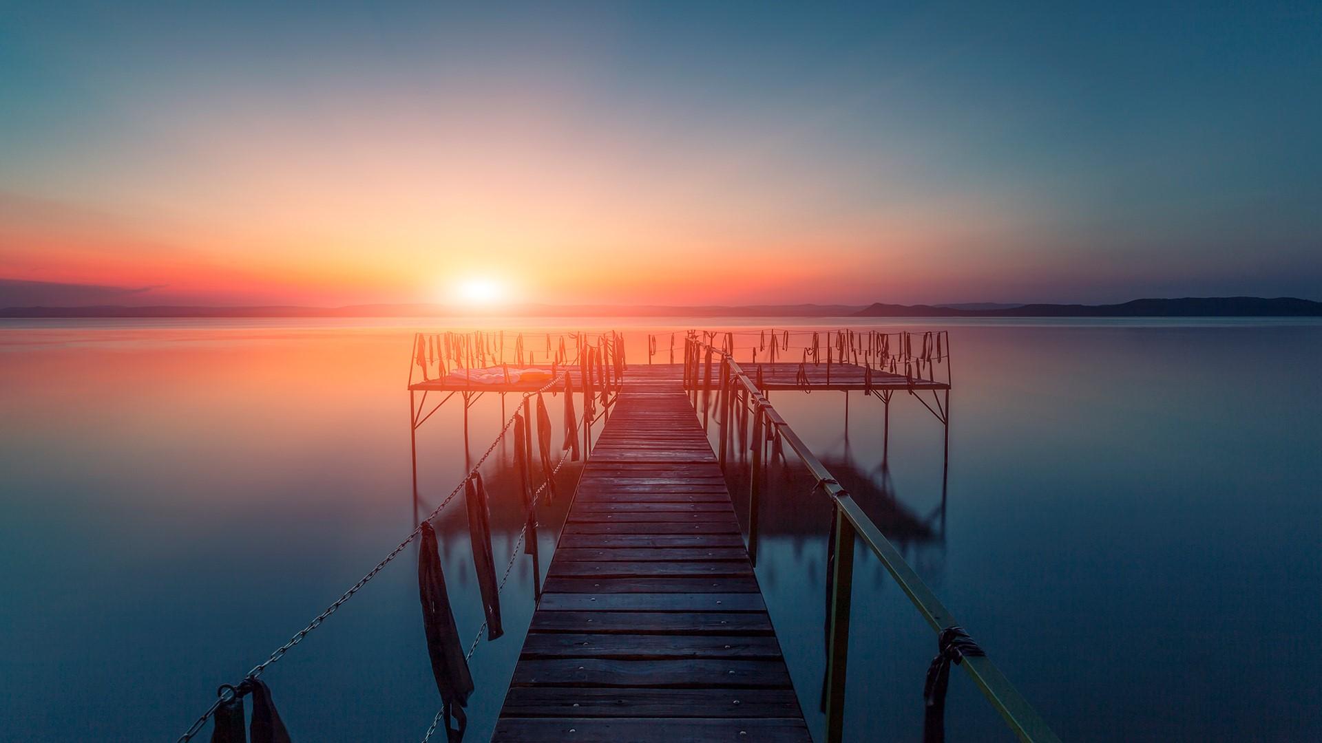 Sunset Over Water Pier At Balaton Lake Hungary Windows