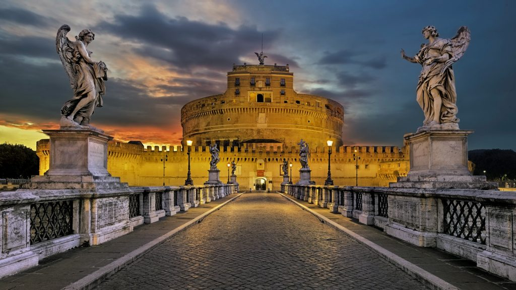 Sculptures of Guardian Angles on bridge at Castel Sant'Angelo, Rome, Italy
