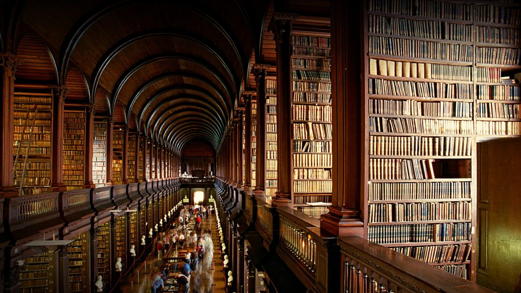 Long Room in the Trinity College Library, Dublin, Ireland