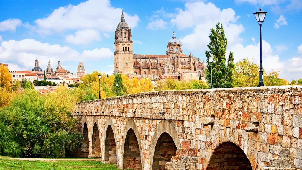 Salamanca skyline with New Cathedral and Roman bridge, Madrid, Spain