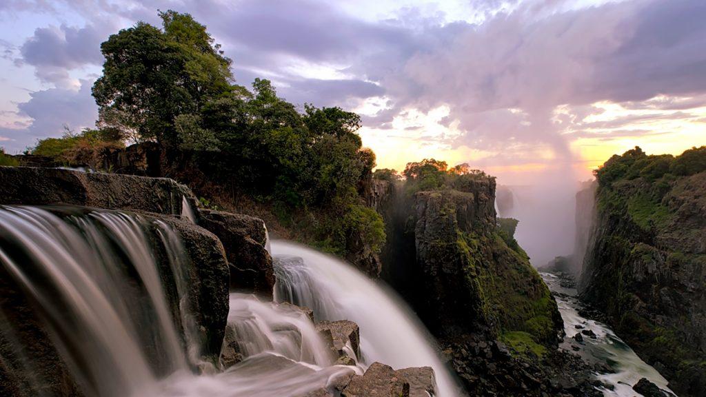 Devil's cataract sunrise at Victoria Falls in Zimbabwe