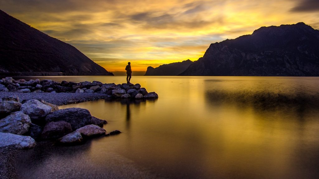Golden Silhouette, sunset on lake Garda, Torbole sul Garda, Italy