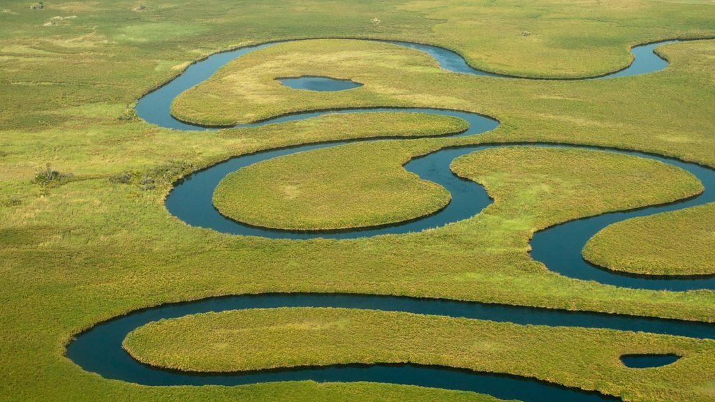Aerial view of branch of Okavango river, Botswana ... Okavango Basin Information System