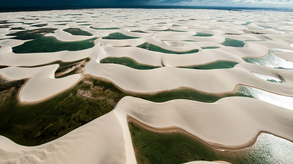 Lençóis Maranhenses National Park aerial view, Brazil
