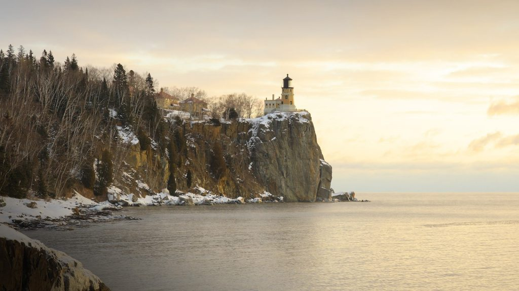 Winter sunrise on lake Superior near Split Rock Lighthouse, Minnesota, USA