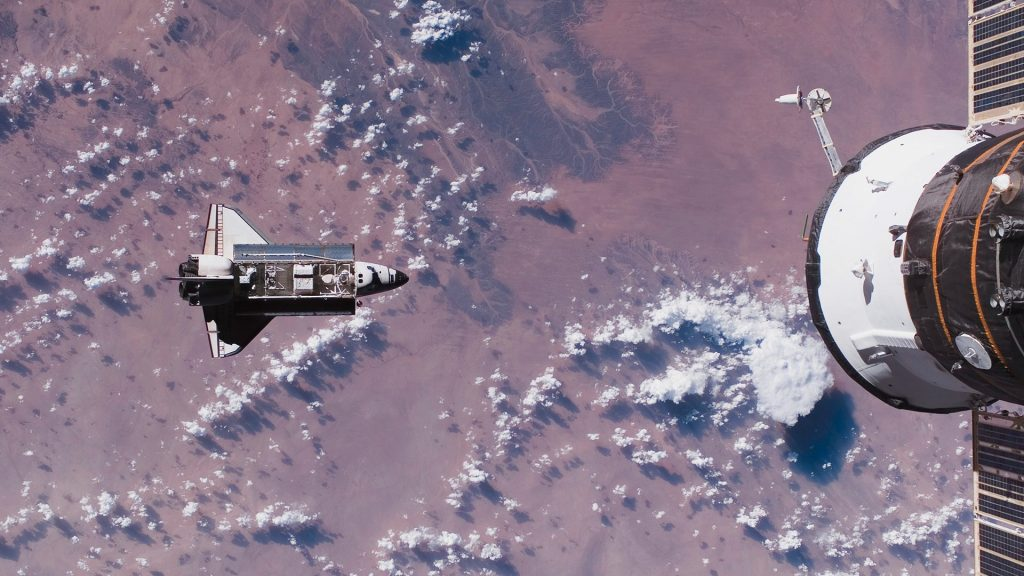 Space Shuttle Endeavour in space over Earth