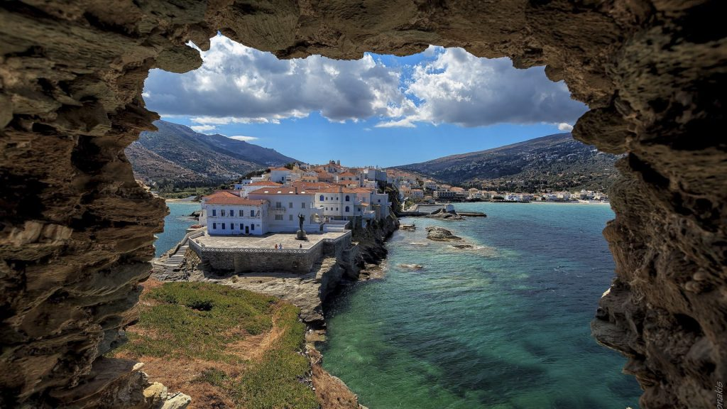 View from a ruin on town of Chora in Andros island, Cyclades, Greece