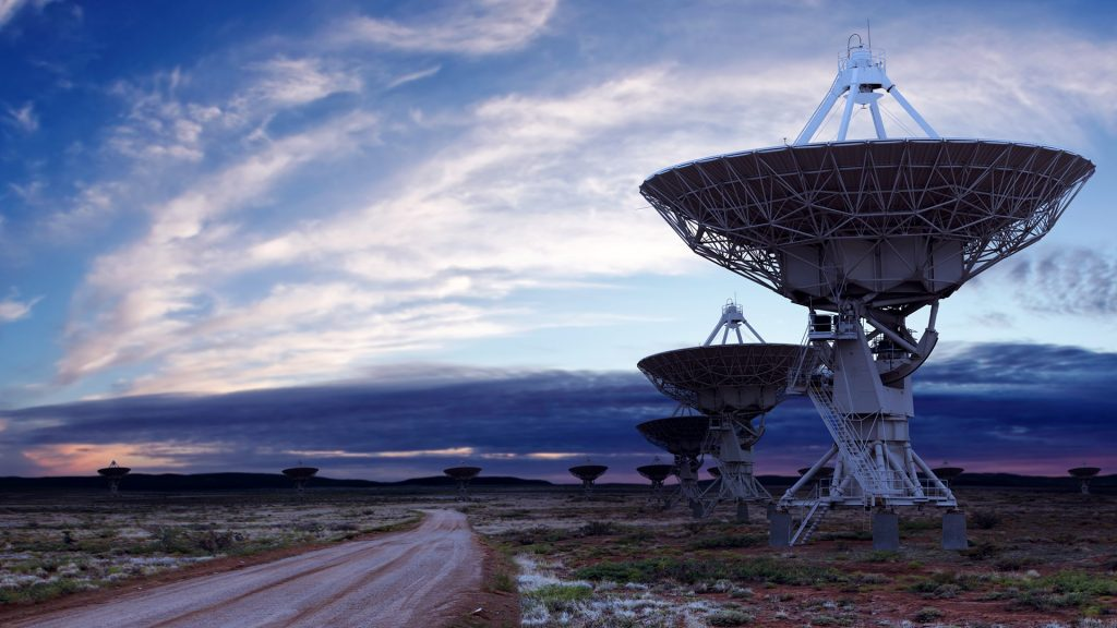 Radio telescope dish at dusk, Socorro, New Mexico, USA