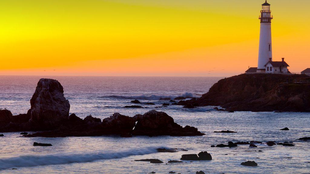 Pigeon Point Lighthouse at sunset, California, USA