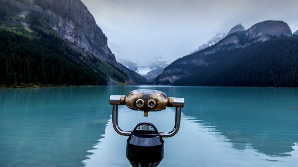 Binoculars on Lake Louise in Banff National Park, Alberta, Canada