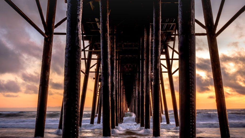 Beneath Oceanside Pier in San Diego County, California, USA