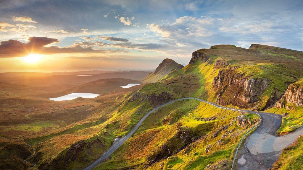 Sunrise over the Quiraing on the Isle of Skye, Scotland, UK