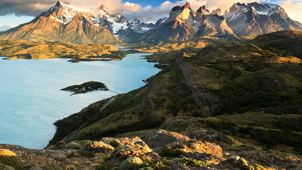 Paine Massif at dawn, lake Pehoé, Patagonia, Chile