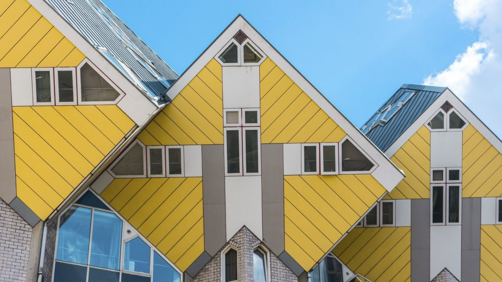 Cube houses against sky in Rotterdam, Netherlands