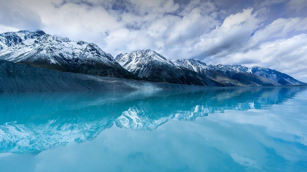 Tasman glacier lake on South Island, New Zealand