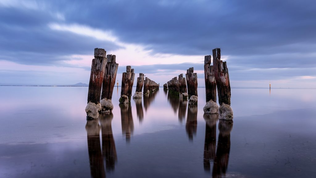 An old pier at Clifton Springs at sunrise, Victoria, Australia