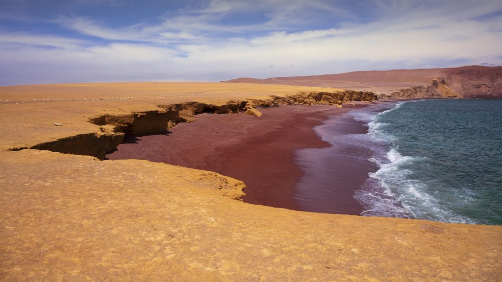 Playa Roja beach in Paracas National Reserve, Peru