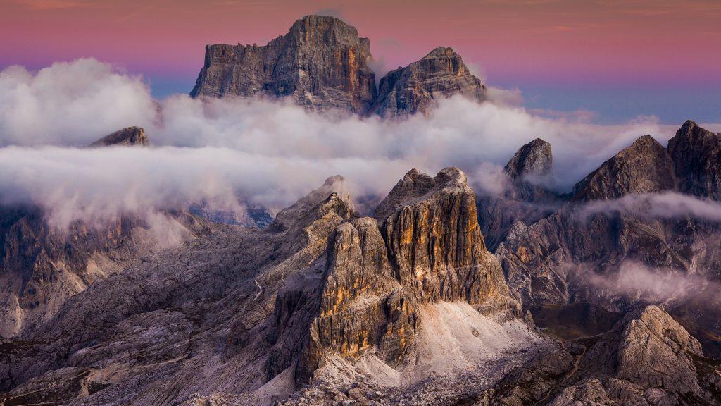 Averau and Pelmo mountains view from Lagazuoi refuge, Cortina d'Ampezzo, Italy