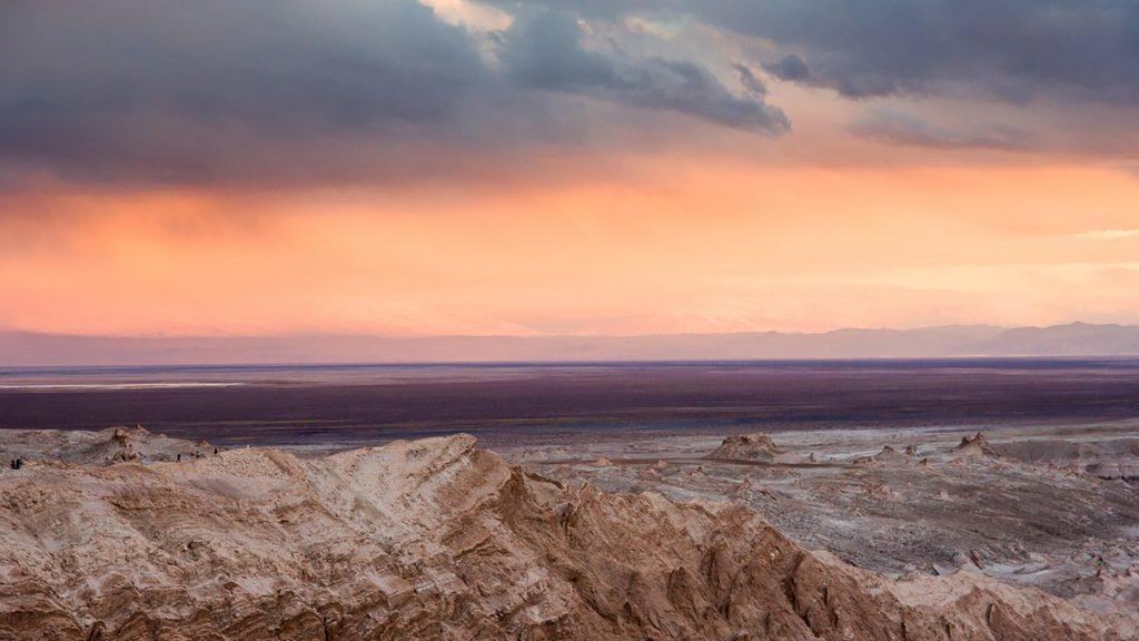 Valle de la Luna at sunset, San Pedro de Atacama, Atacama Desert, Antofagasta, Chile
