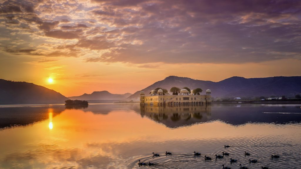 Sunrise over the Jal Mahal water palace, Jaipur, Rajasthan, India