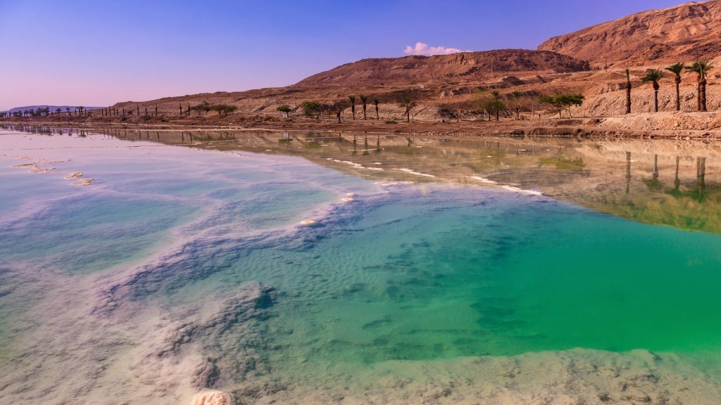 Fused salt on the Dead Sea surface, Israel