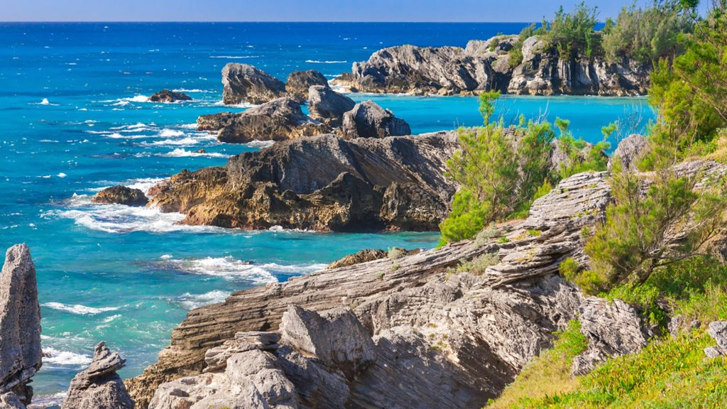 Rugged coastline view from Horseshoe Bay, South Shore Park, Warwick Parish, Bermuda