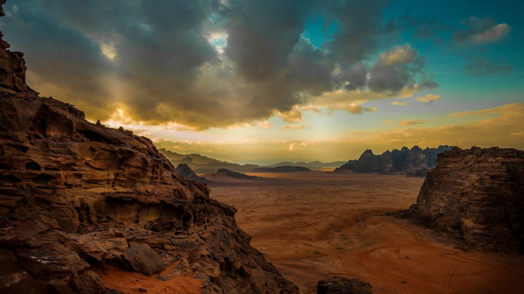 Desert and cliff, Wadi Rum, Jordan