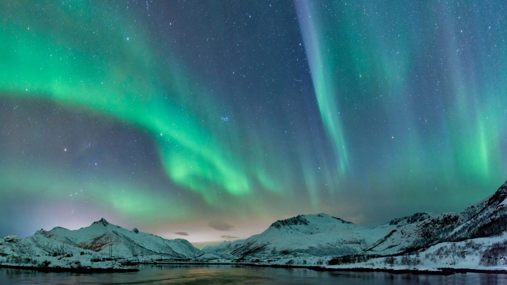 Northern lights, polar light or aurora borealis over Lofoten islands, Norway