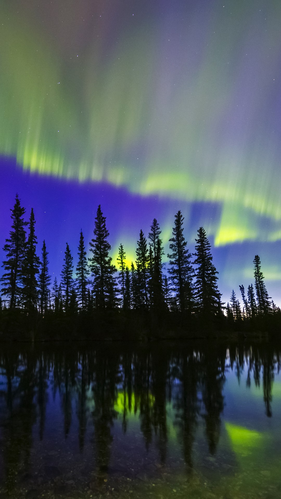 The Aurora Borealis Reflects In The Clearwater River In