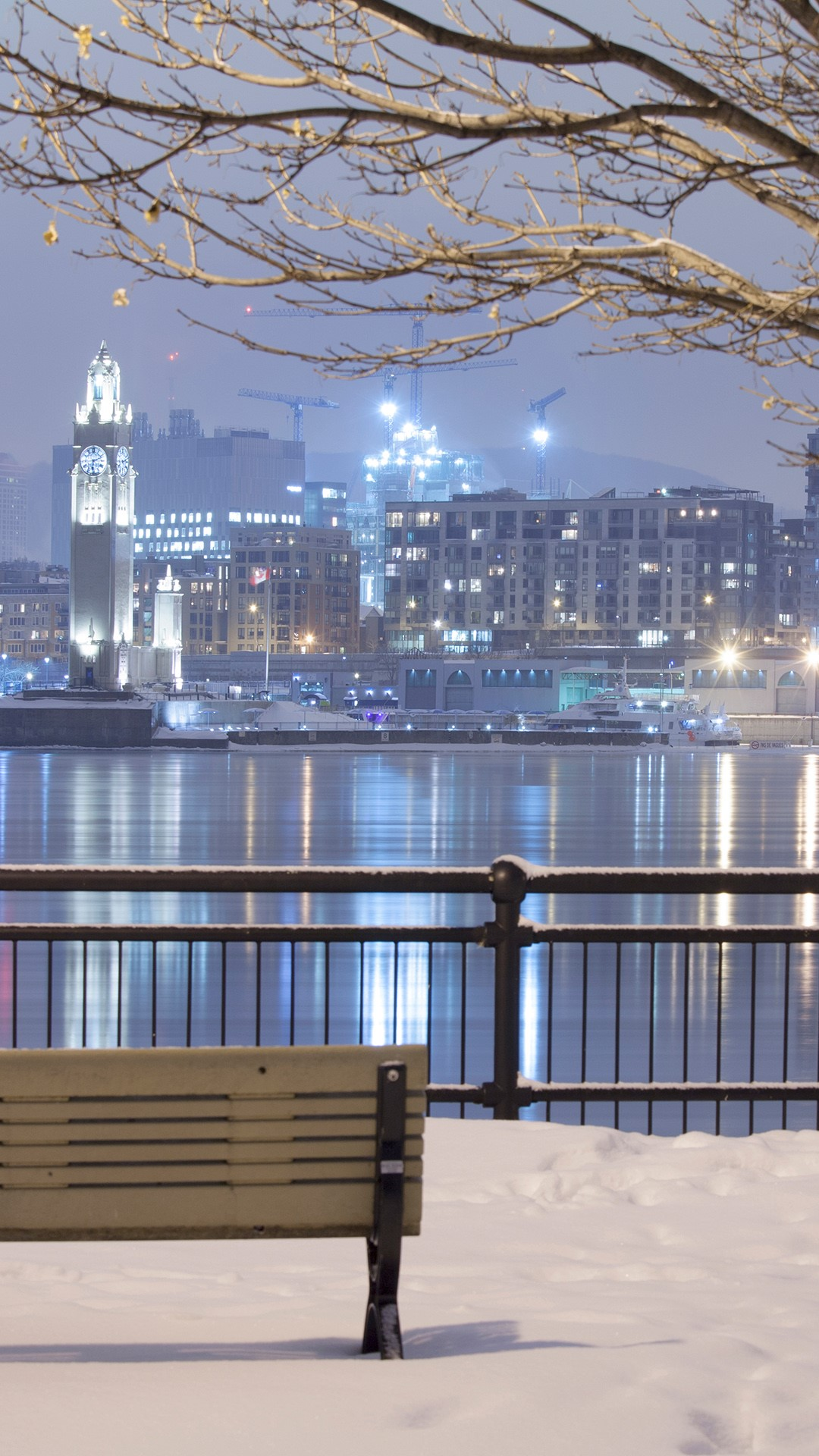 Montreal City Skyline Lit Up At Night Quebec Canada