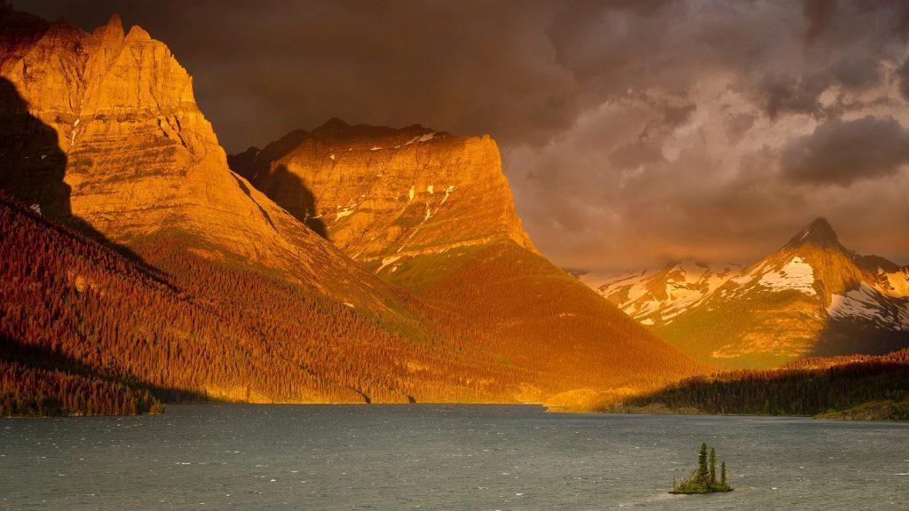 Stormy sunrise over Saint Mary Lake, Glacier National Park, Montana, USA