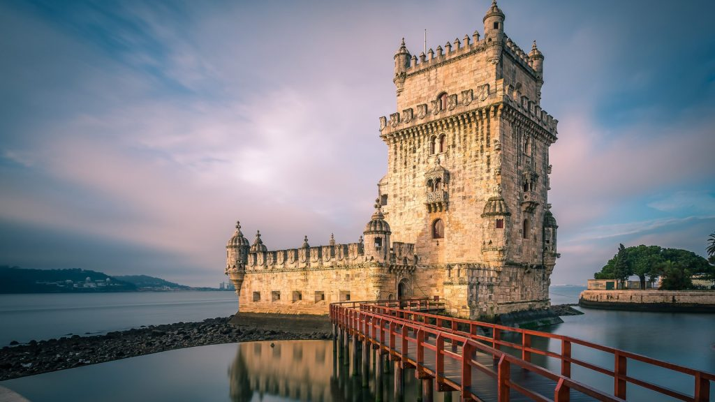 Belém Tower (Torre de Belém) at the Tagus river in Lisbon at sunrise, Portugal