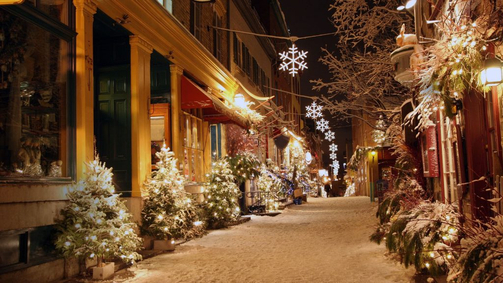 Christmas decorated deserted street in Quebec City, Canada