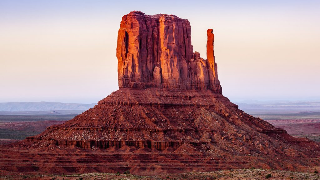 The Mittens at sunset, Navajo Tribal Park, Monument Valley, Arizona, USA