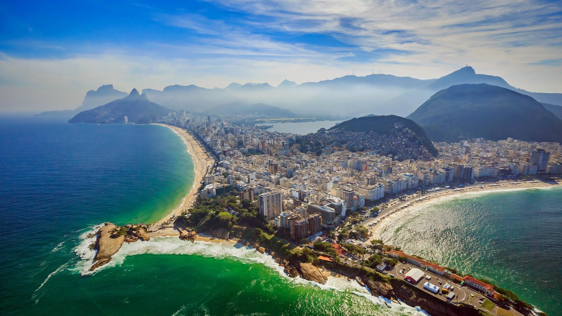 copacabana beach and ipanema beach aerial view rio de janeiro